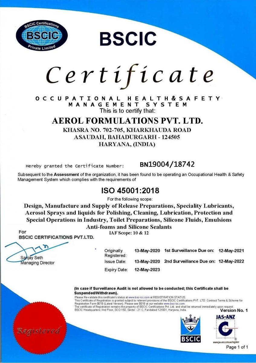 Aerol ISO 45001 certification
