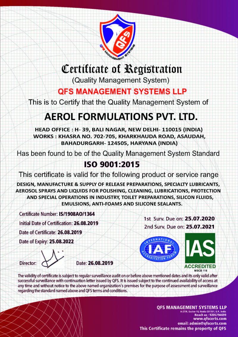 Aerol ISO 9001 certified